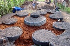 Facendo la mandala con gli pneumatici